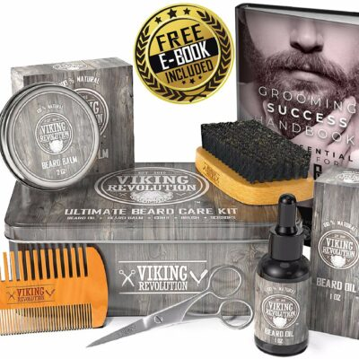 Beard Care Travel Shaving Kit - Beard Oil, Beard Balm, Beard Shampoo & Conditioner, Beard Brush and Grooming Scissors and a Travel Case