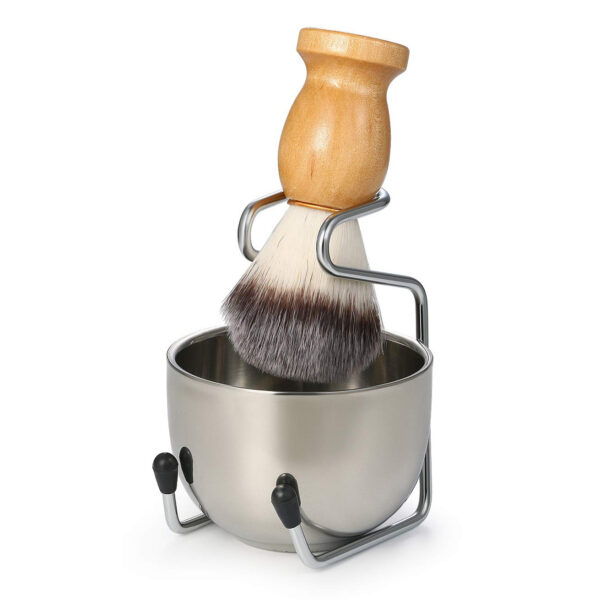 Shaving Brush with Beard Soap Bowl and Shaving Stand