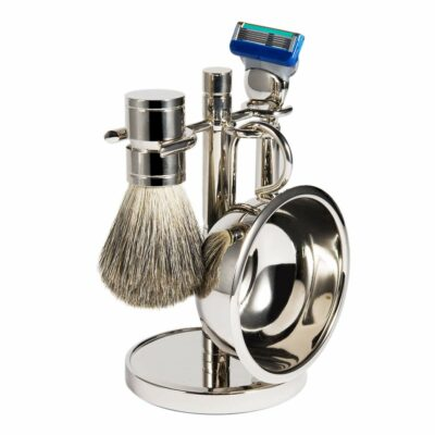 Luxury Shaving Soap Bowl with Shaving Razor, Shaving Brush, and Shaving Stand